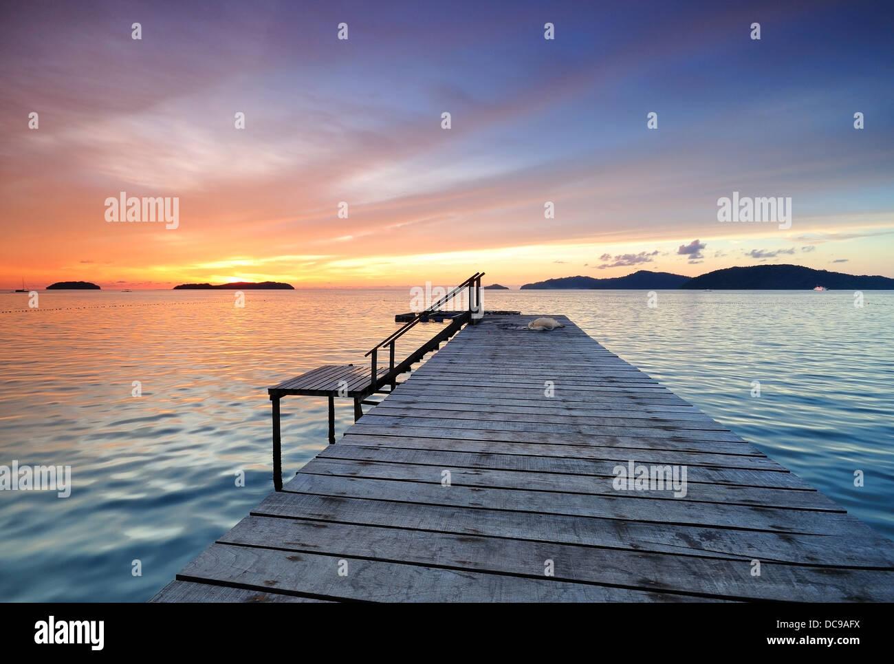 Amazing Sunset with Small Jetty in Kota Kinabalu, Sabah Borneo - Stock Image