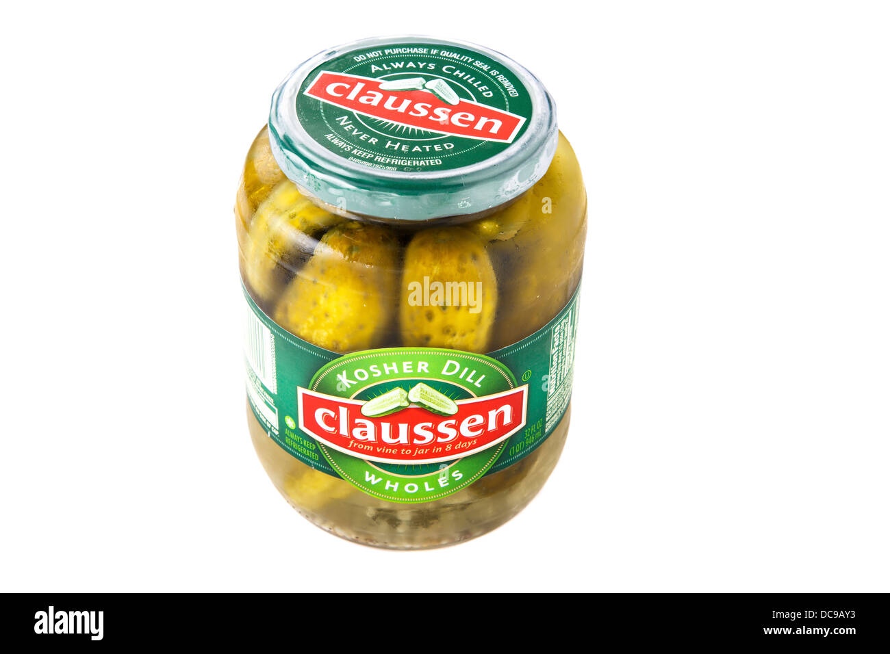 A jar of Claussen whole kosher dill pickles isolated on whtie background - Stock Image