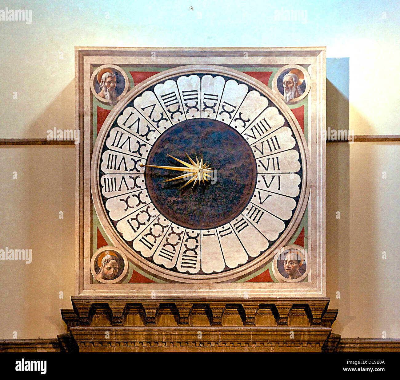 Clock 24 hours Florence Cathedral - Stock Image