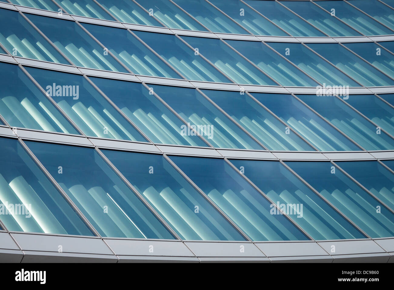 Architectural detail of a modern building of steel and glass - Stock Image