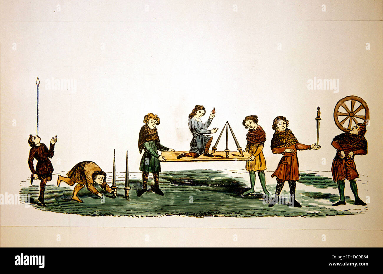 Medieval period. Feats in Balancing. English Manuscript. 13th century. Entertainers. - Stock Image