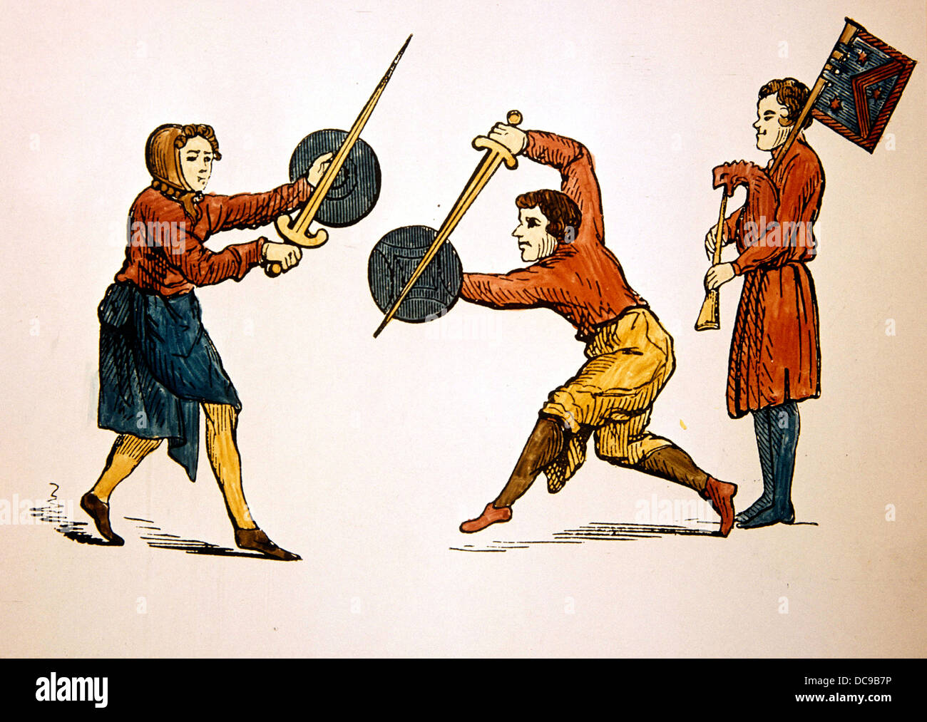 Medieval period. Sword dance to the sound of the bagpipe. 14th century. Entertainers. - Stock Image