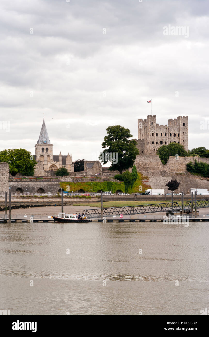 Rochester Castle and Cathedral In The Medway Town City Of Rochester Kent England UK - Stock Image