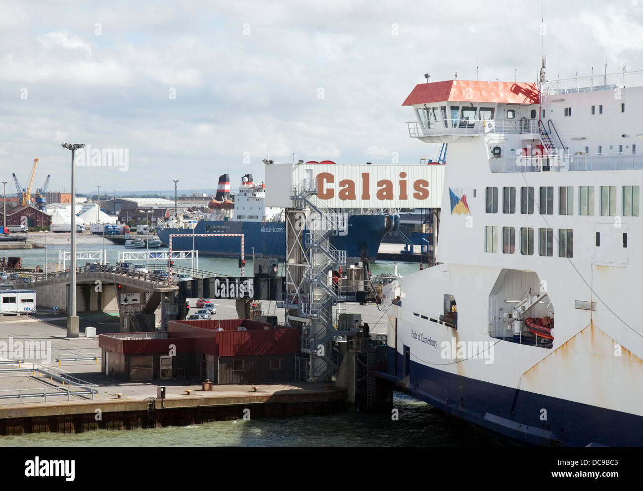 Calais port and ferry, France, Europe - Stock Image