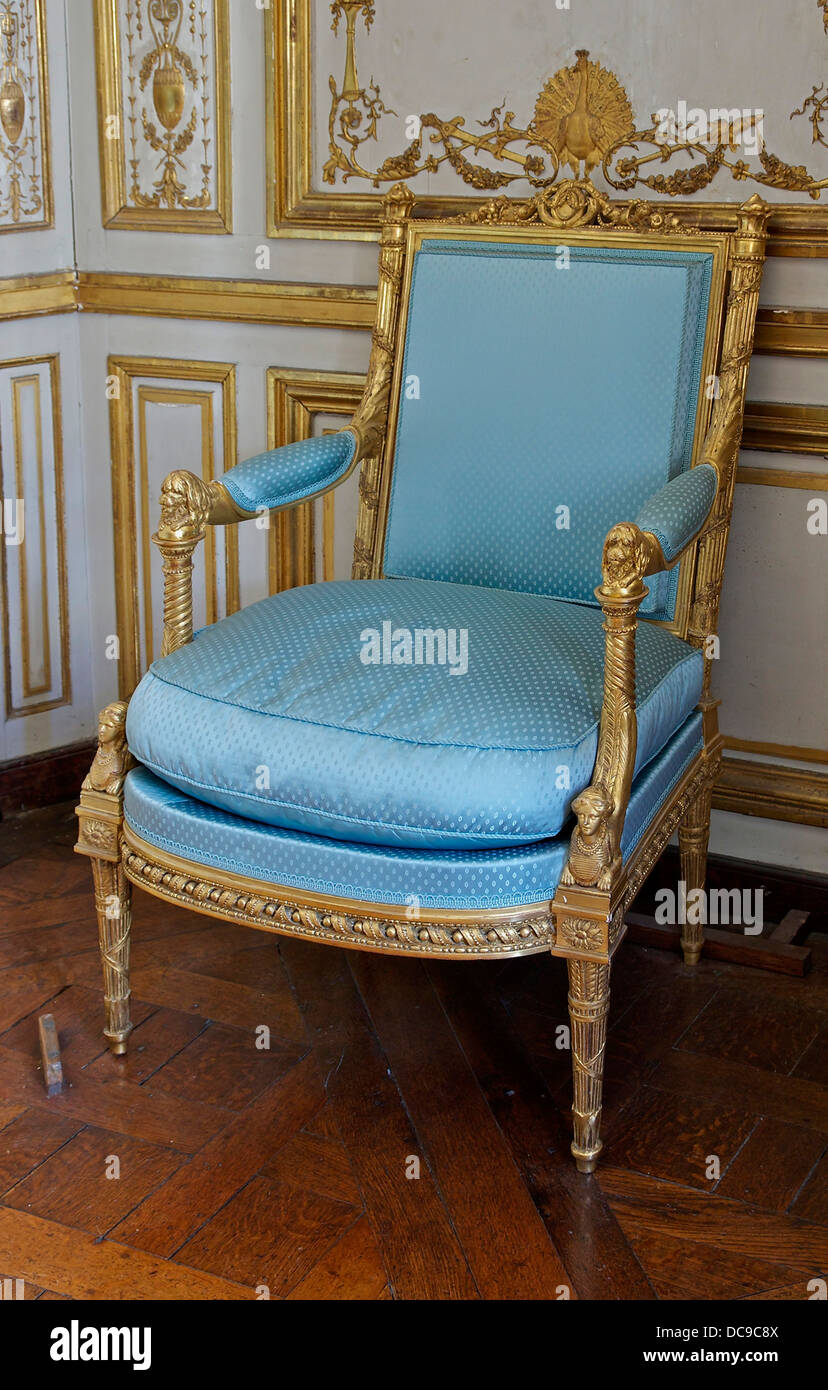 One of the chairs 'the queen' (a pair), delivered in 1781. Restitution (1981) of the original fabric: a - Stock Image