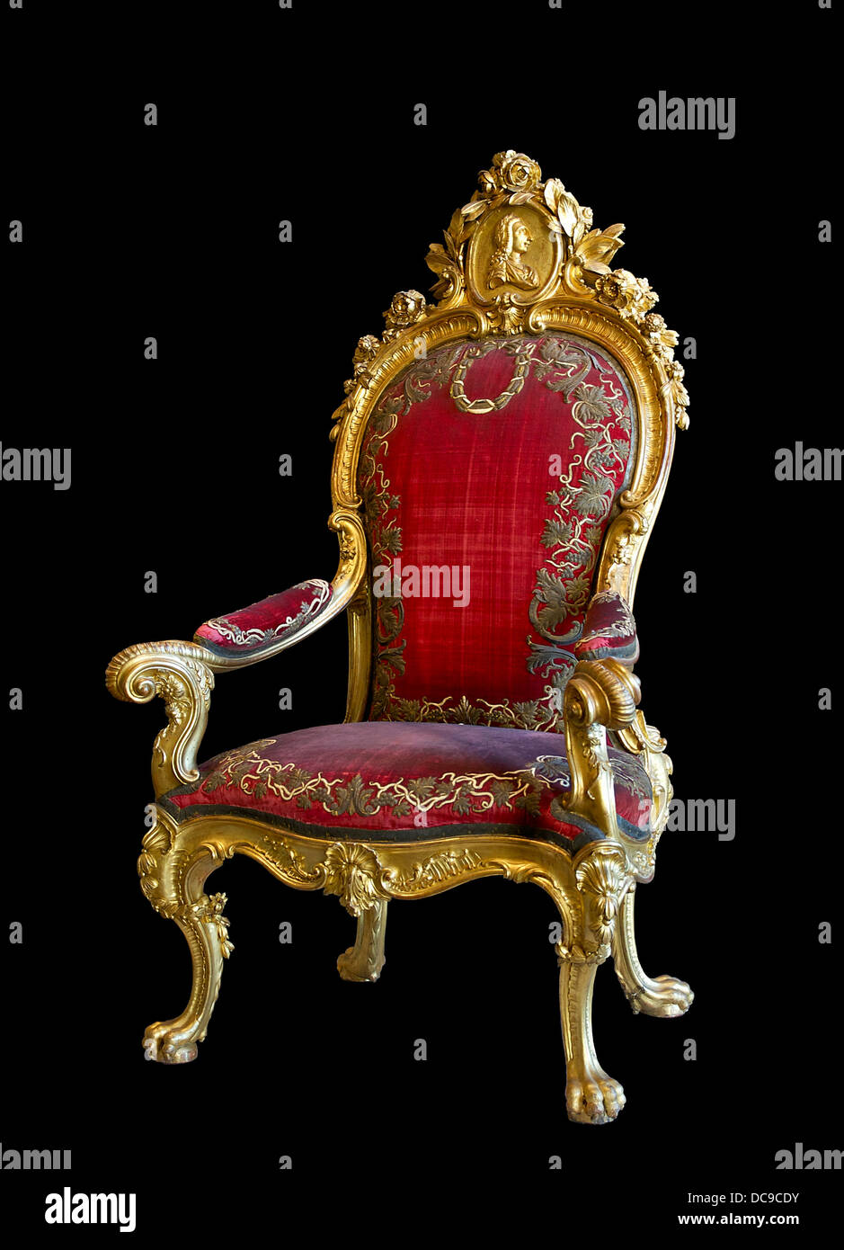 Throne made for King Charles III of Spain, whose profile features in the medallion atop the backrest. Since the - Stock Image