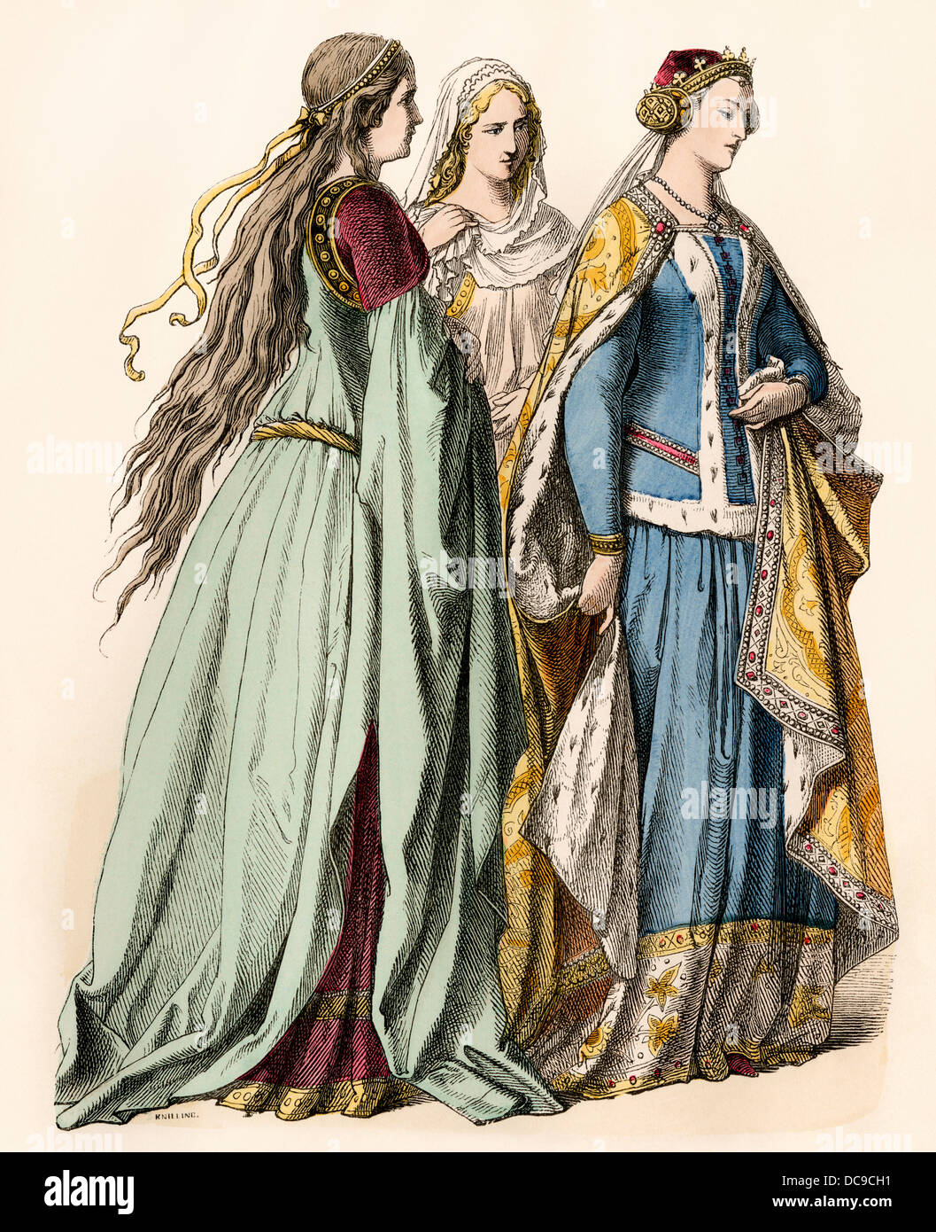 Ladies attending an English princess of the 14th century. Hand-colored print - Stock Image
