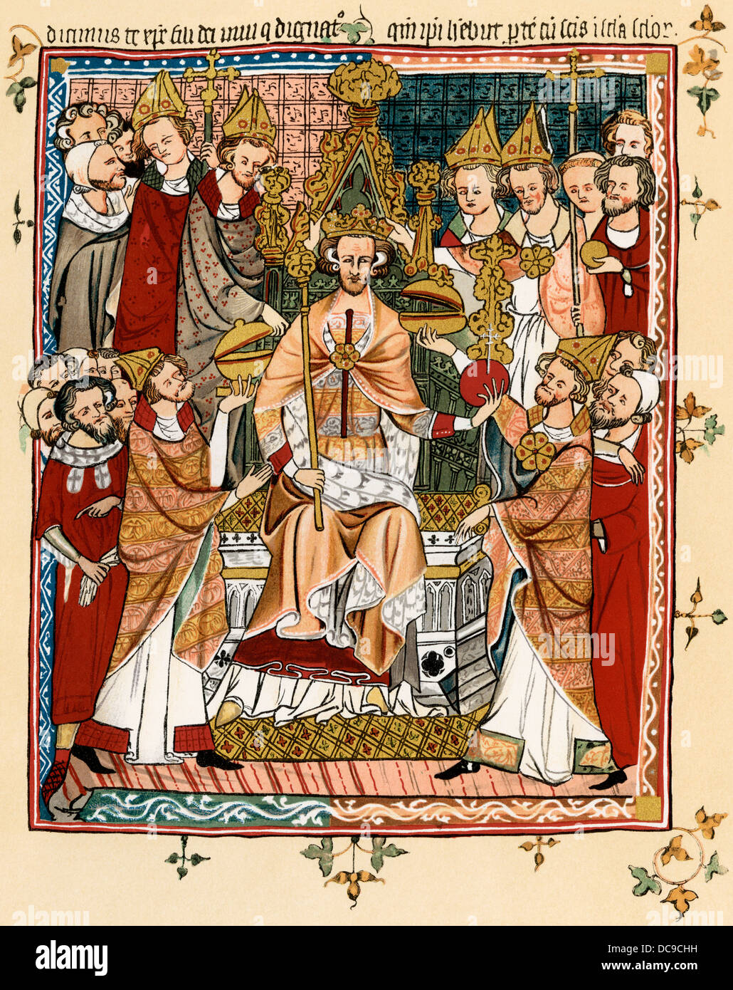 Coronation of a king, early 14th century. Color lithograph reproduction - Stock Image