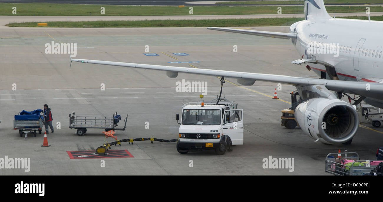 refueling of a plane in Athens International Airport.. - Stock Image