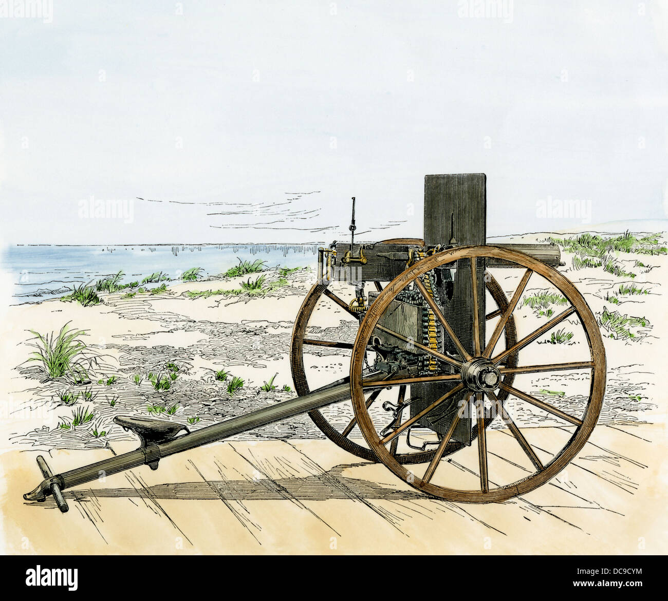 Maxim field gun, a type of Gatling gun, with a bullet-proof shield. 1880s. Hand-colored woodcut - Stock Image