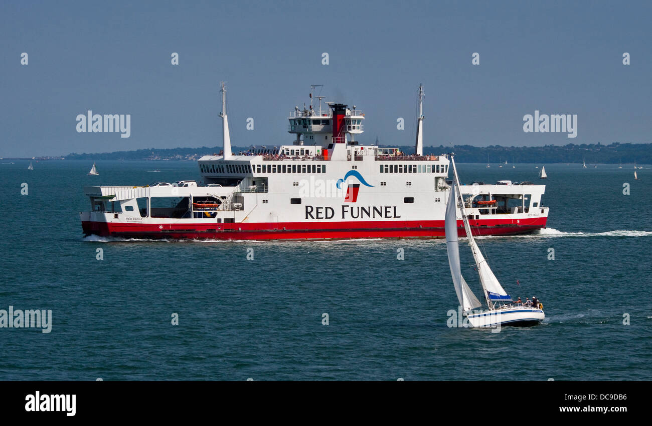 Red Funnel Red Eagle Vehicle and Passnger Ferry between Southampton and East Cowes, Isle of Wight, England - Stock Image
