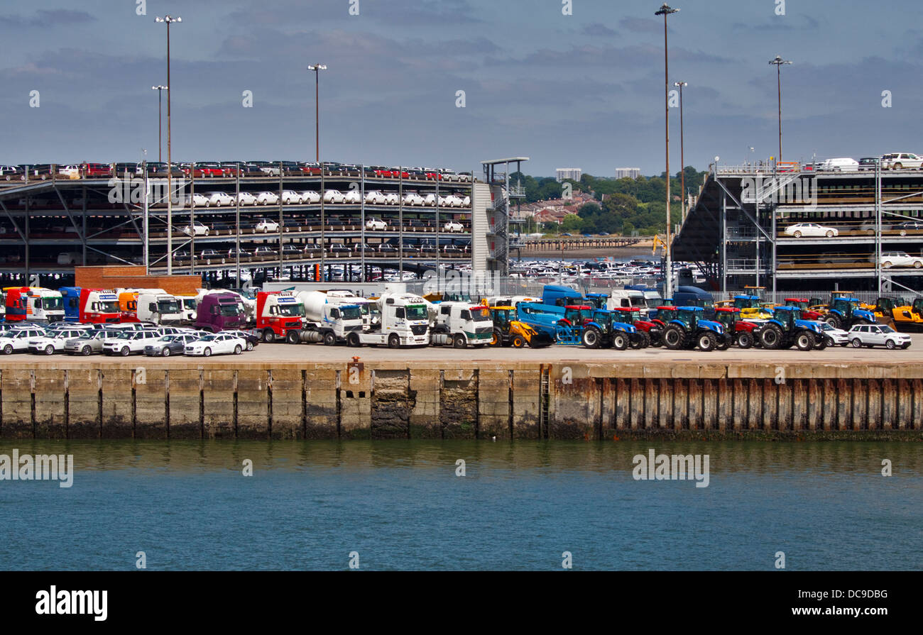Vehicles for export parked at Southampton Docks, Hampshire, England - Stock Image