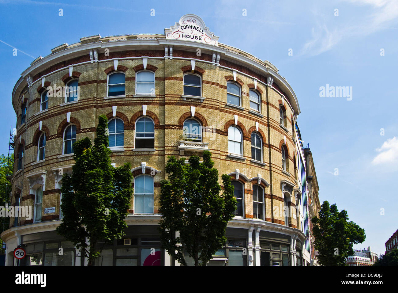 Round shaped building of Cornwell house in Clerkenwell, London - Stock Image
