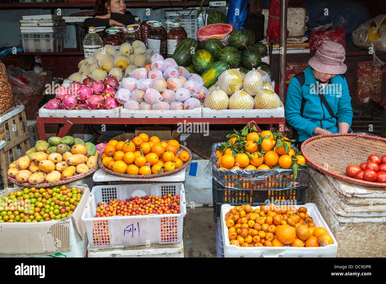 A fruit market in Sapa, Vietnam, Asia. - Stock Image