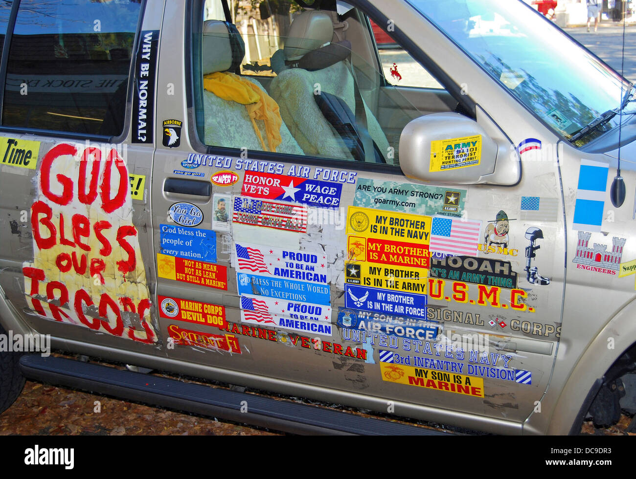 Manchester by the Sea, MA. Van with decals supporting U.S. troops Stock Photo