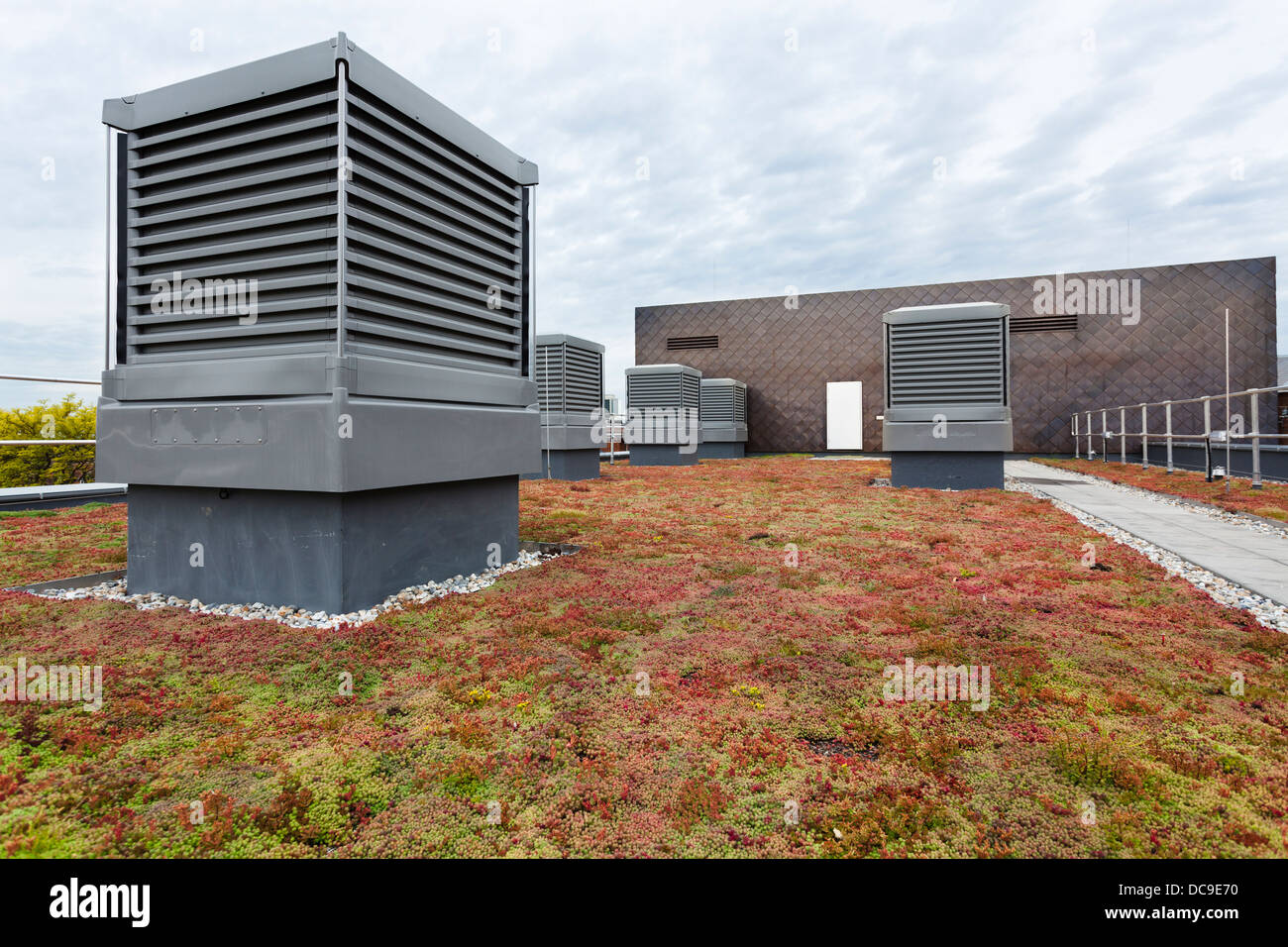 Monodraft louvre ventilation and Sedum green roof on Notting Hill Ealing High School. - Stock Image