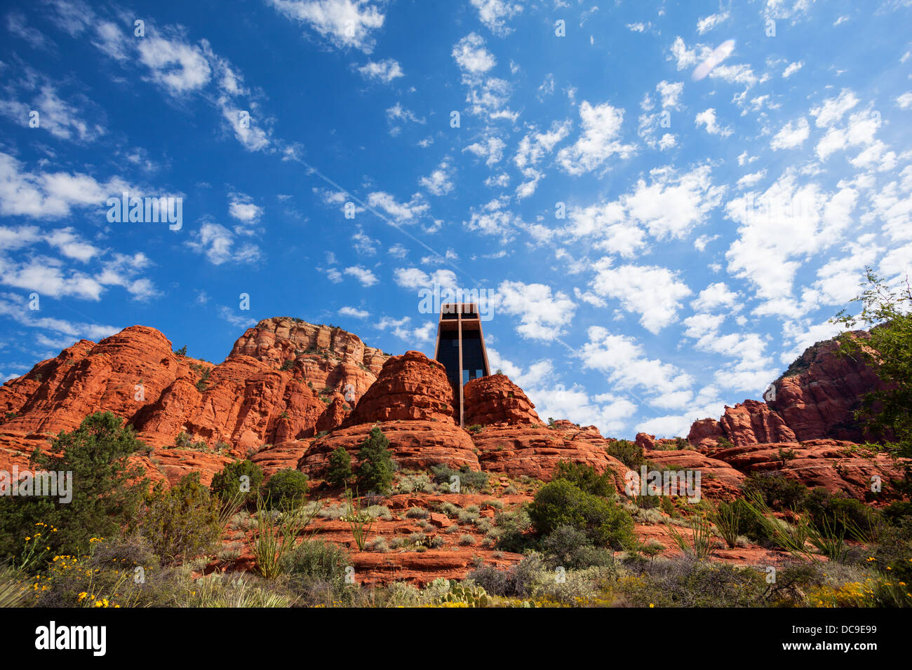 The Chapel of the Holy Cross set among red rocks in Sedona - Stock Image