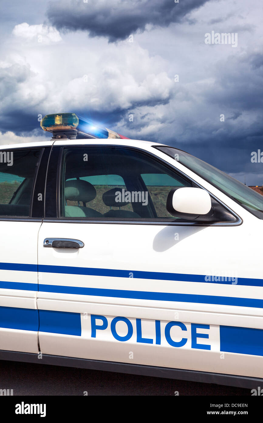 Part of cop car with special photographic processing - Stock Image