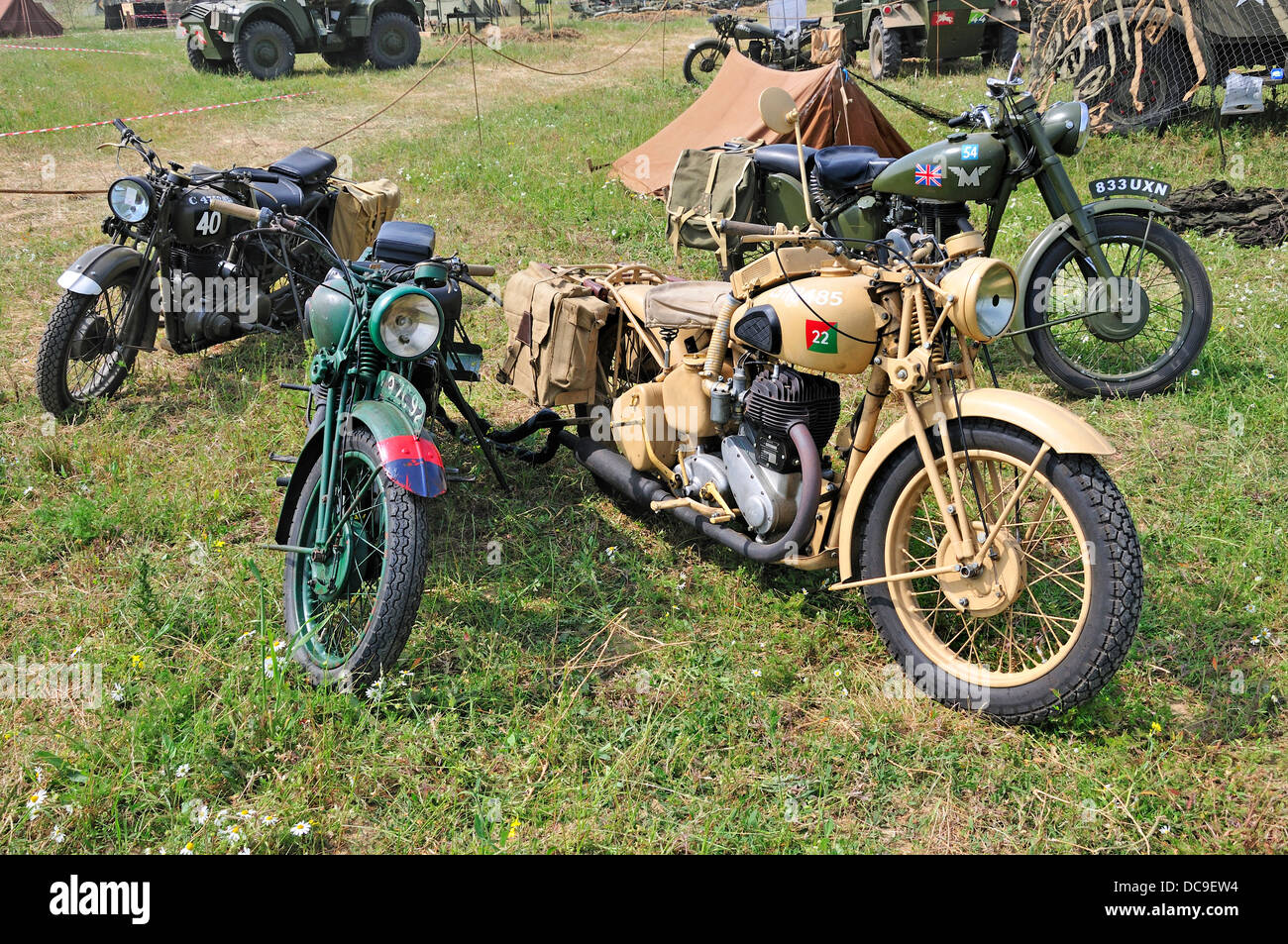 War and Peace Revival, July 2013. Folkestone Racecourse, Kent, England, UK. Military motorcycles - Stock Image