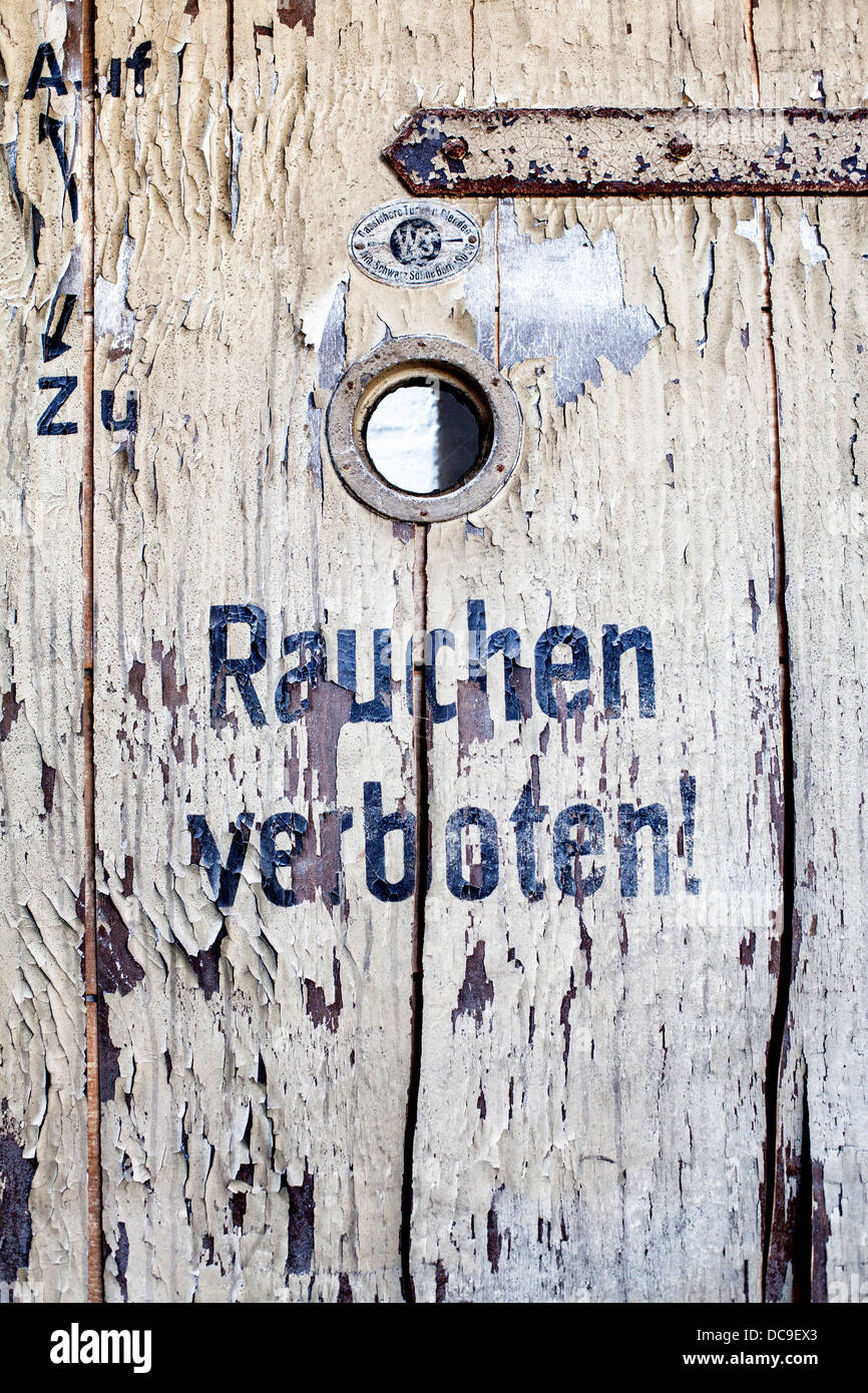 Rauchen Verboten (no smoking) sign at the UFO sound studios situated in the old C.Schneider brewery at Prenzlauerberg - Stock Image