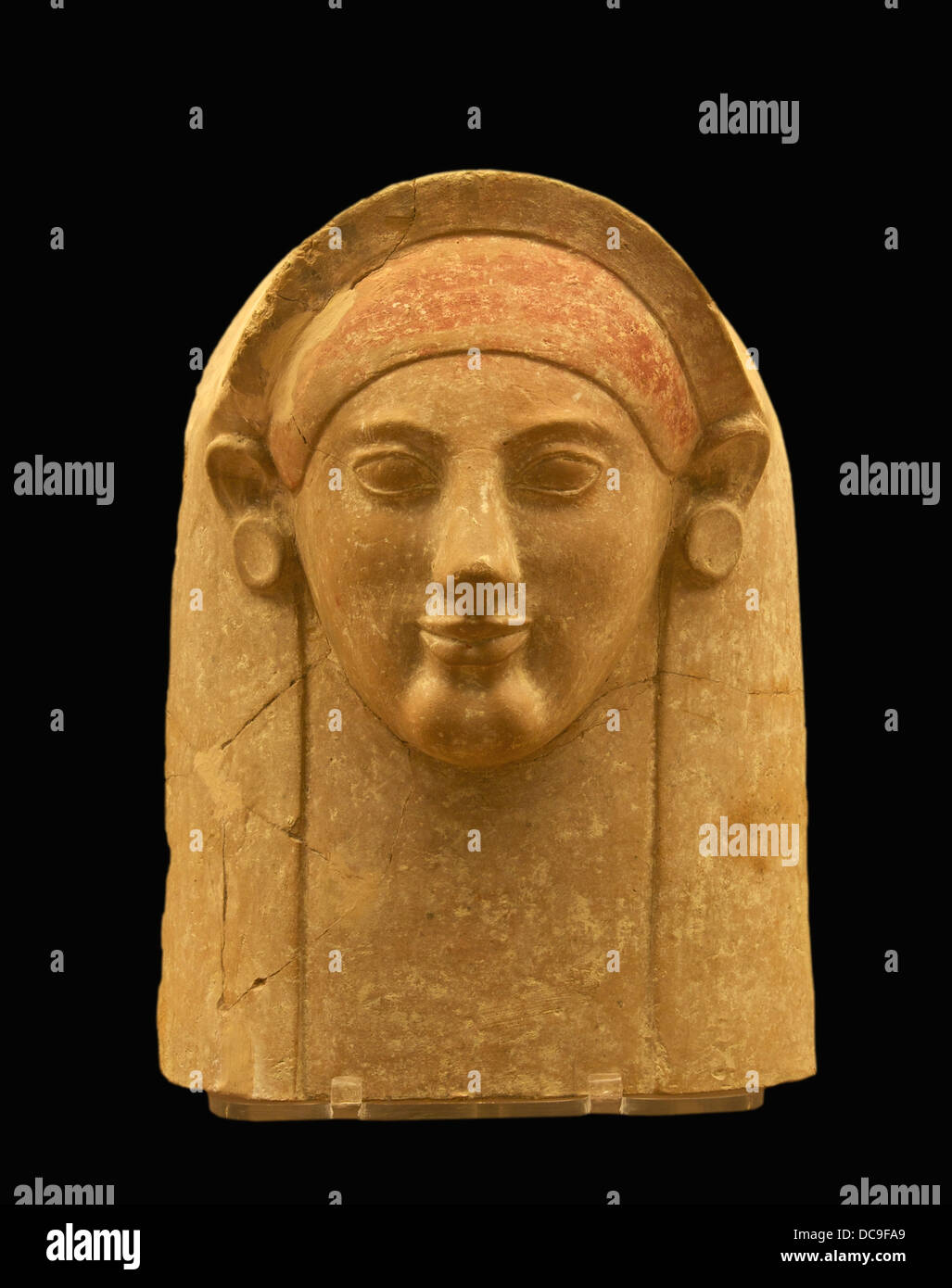 Terracotta female bust, ionian workshop, found in a tomb, Macri Langoni T 75. 525-500 BC. - Stock Image