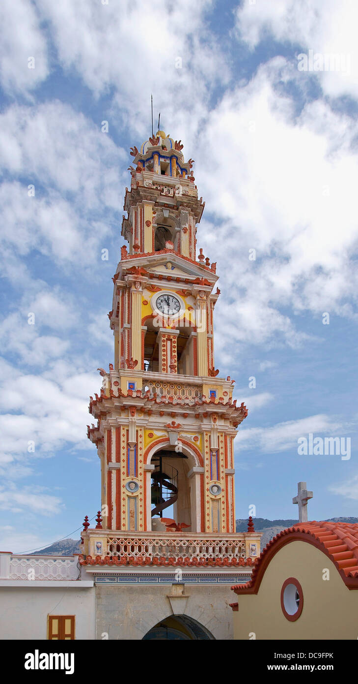 The bell tower of the monastery of Archangel Michael of Panormitis, Island of Symi, Greece. - Stock Image