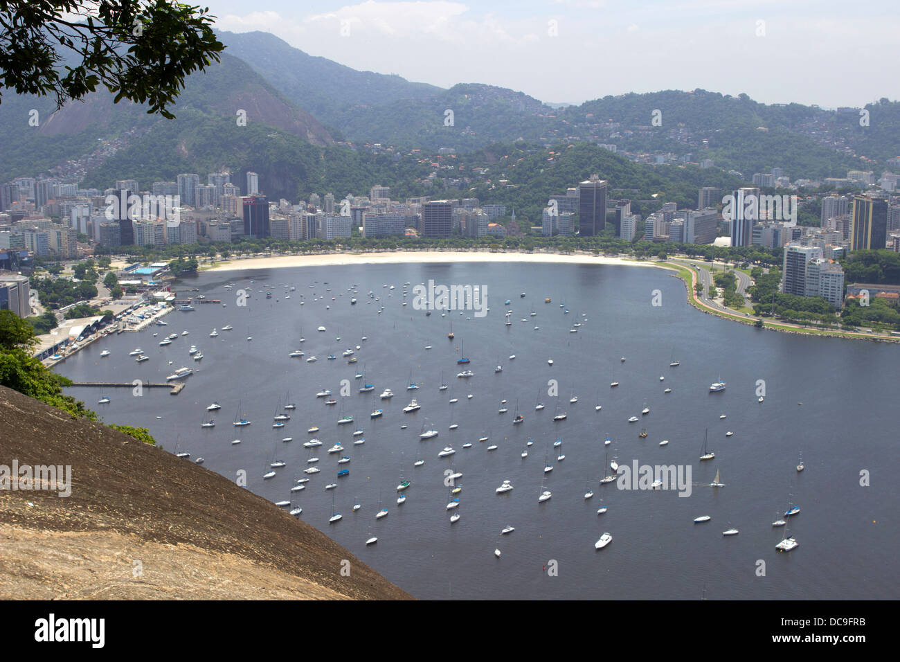 View from the Sugarloaf of Rio de Janeiro, Brazil, February 2013. Stock Photo