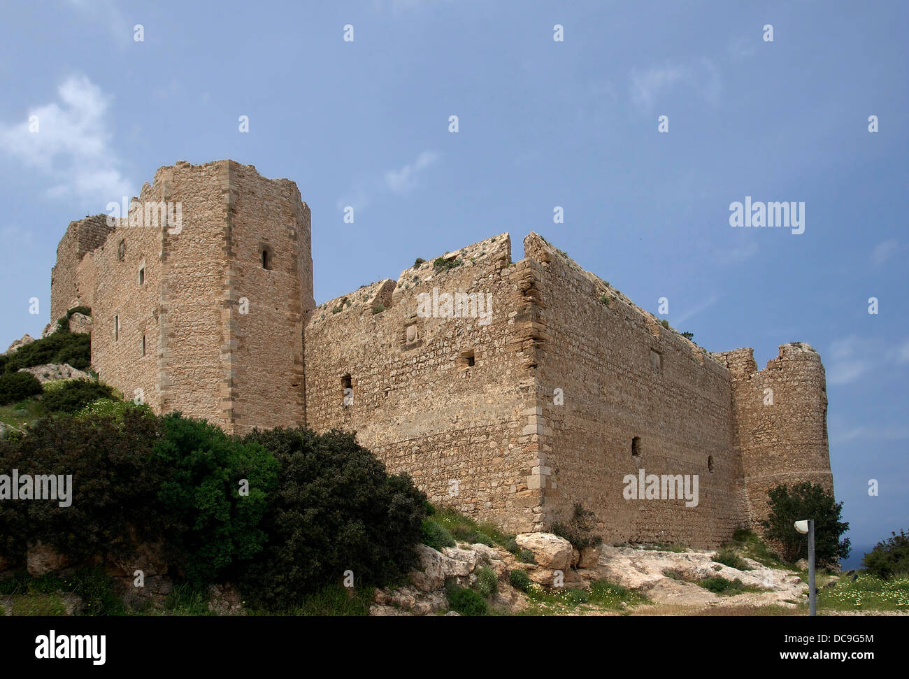 castle of Kastelos, 14th century, island of Rhodes, Greece. - Stock Image