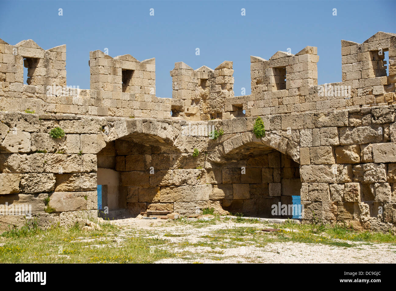 part of the defensive structures of the fortifications of Rhodes, Greece. - Stock Image