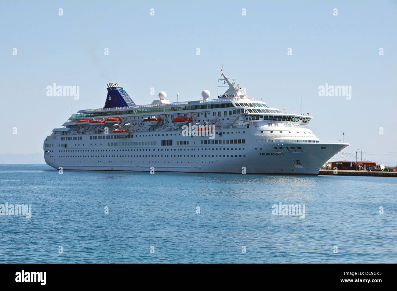 M.S. Louis Majesty (ex Royal Majesty, ex Norwegian Majesty), in the harbour of Rhodes, Island of Rhodes, Greece. - Stock Image