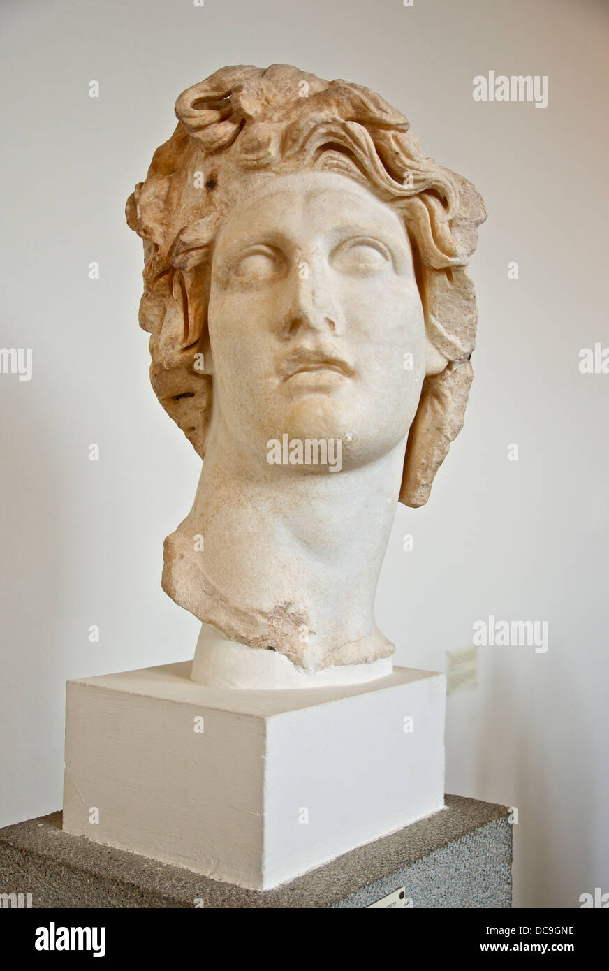 The god of island of Rhodes. Holes on the periphery of the cranium are for inserting the metal rays of his crown. - Stock Image