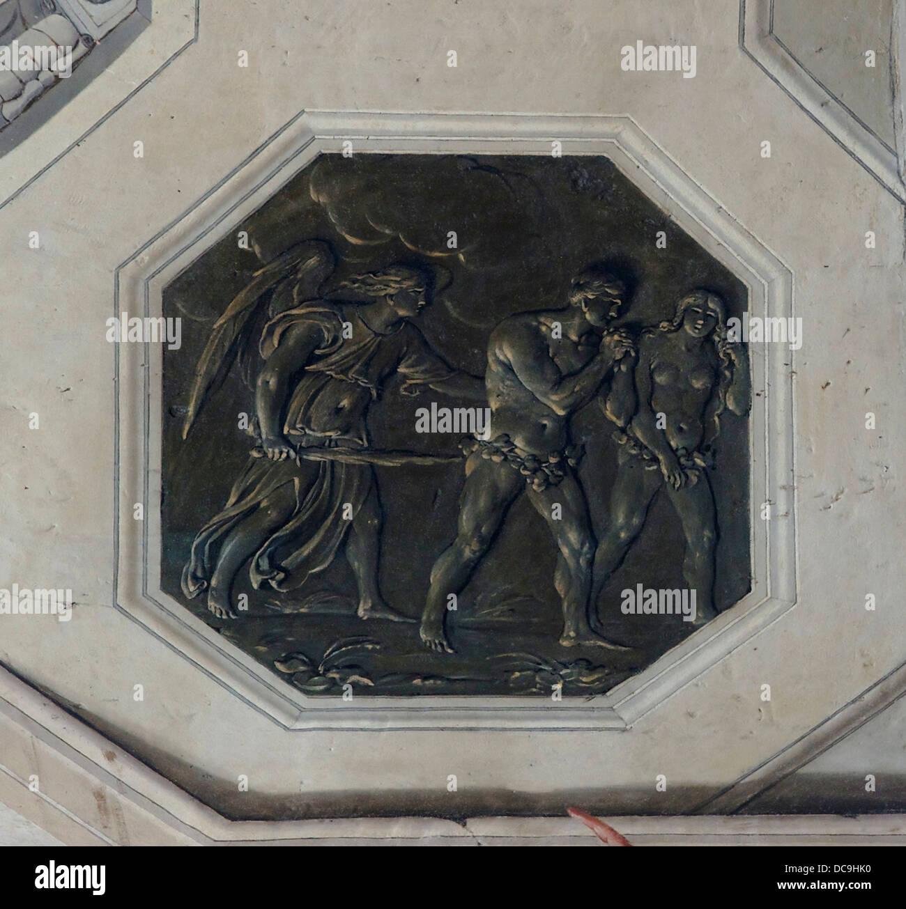 Expulsion of Adam & Eve (faux-bronze). Detail of the vault fresco 'La Résurrection' by Michel Corneille - Stock Image