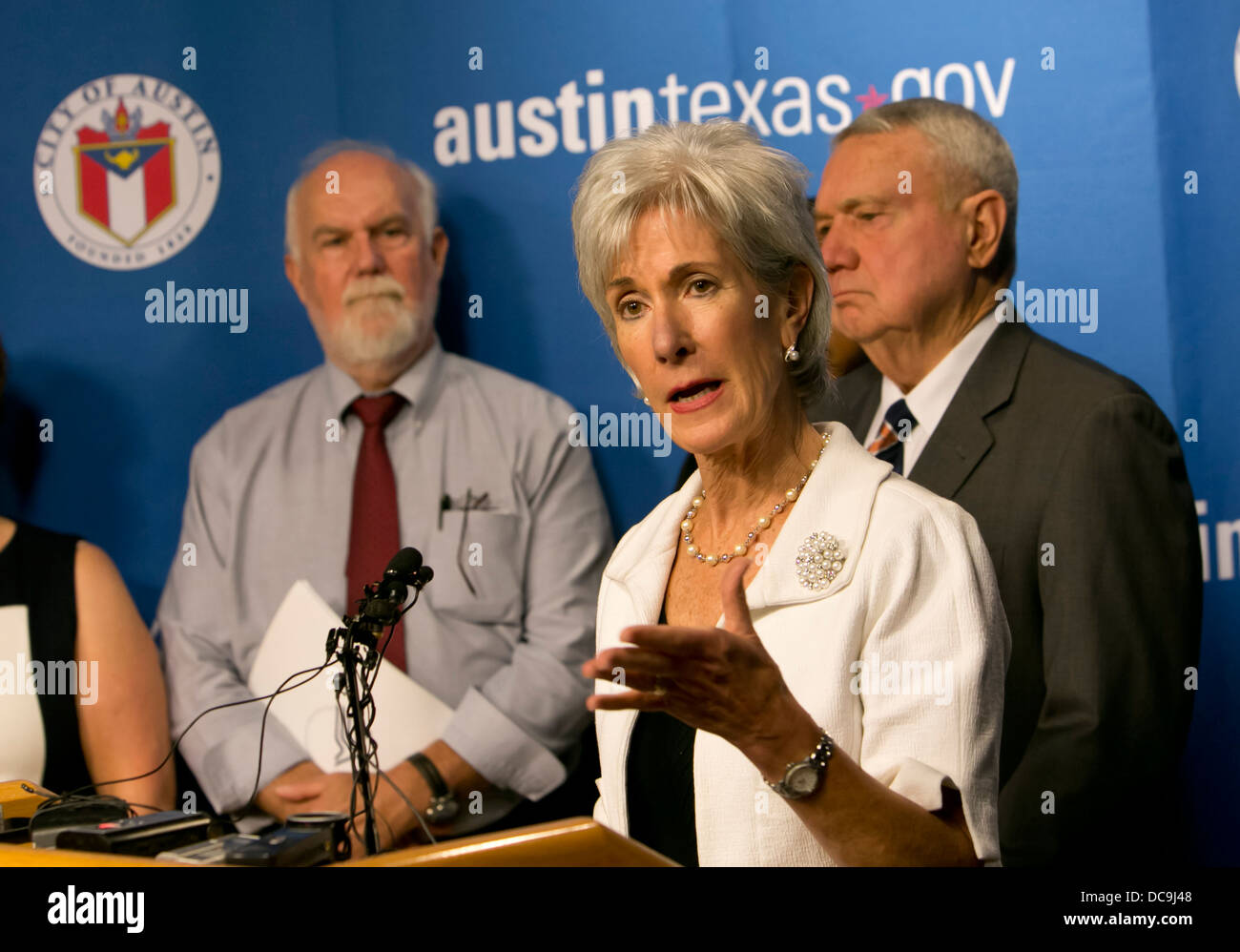 US Secretary of Health and Human Services, Kathleen Sebelius, met in Austin Texas to discuss the Affordable Care - Stock Image