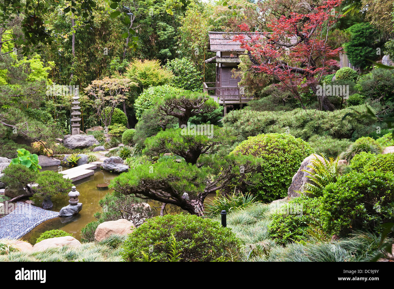 Overview of Hannah Carter Japanese Garden. Currently closed and slated for resale or demolition. - Stock Image