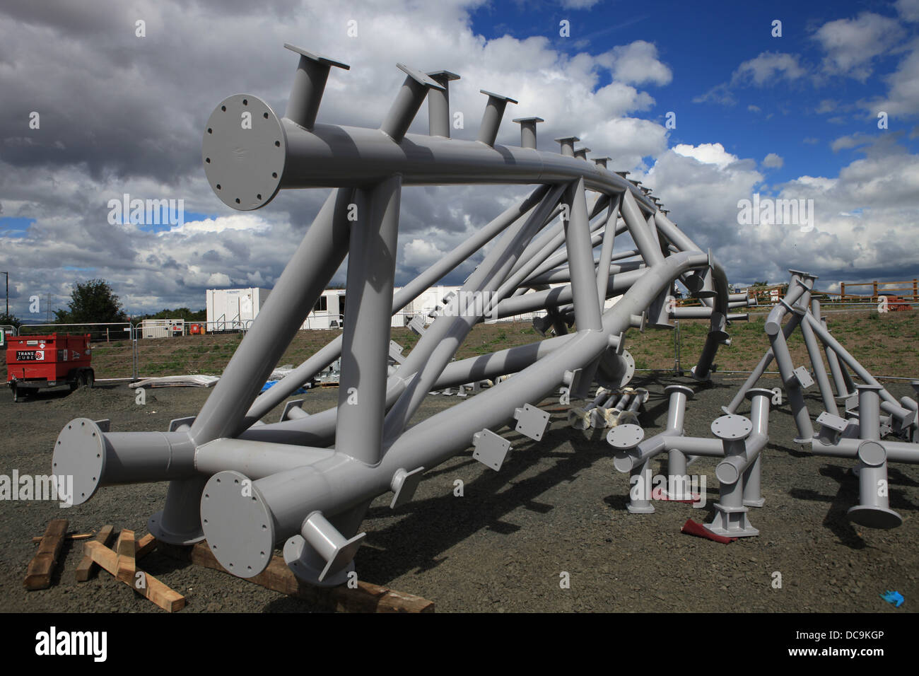 Steelwork on a construction site. Part of the Kelpie Helix project Falkirk Scotland. - Stock Image