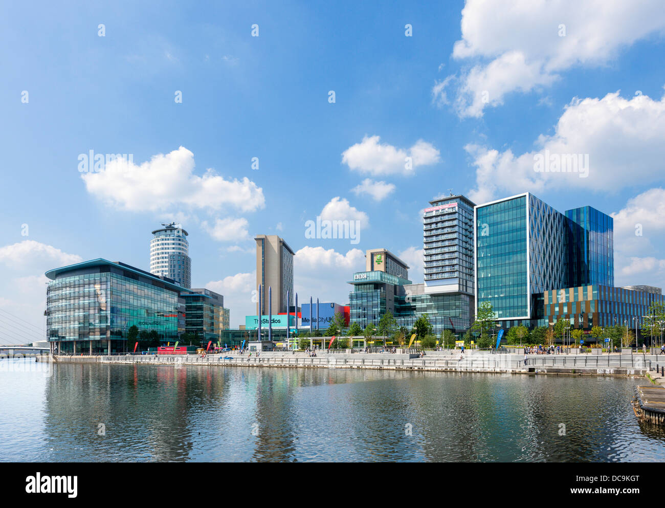 The BBC and other buildings at MediaCityUK, Salford Quays, Manchester, UK - Stock Image