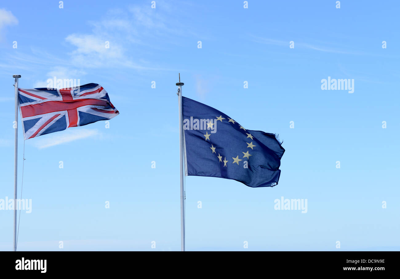 Union Jack and European Union flags flying together - Stock Image