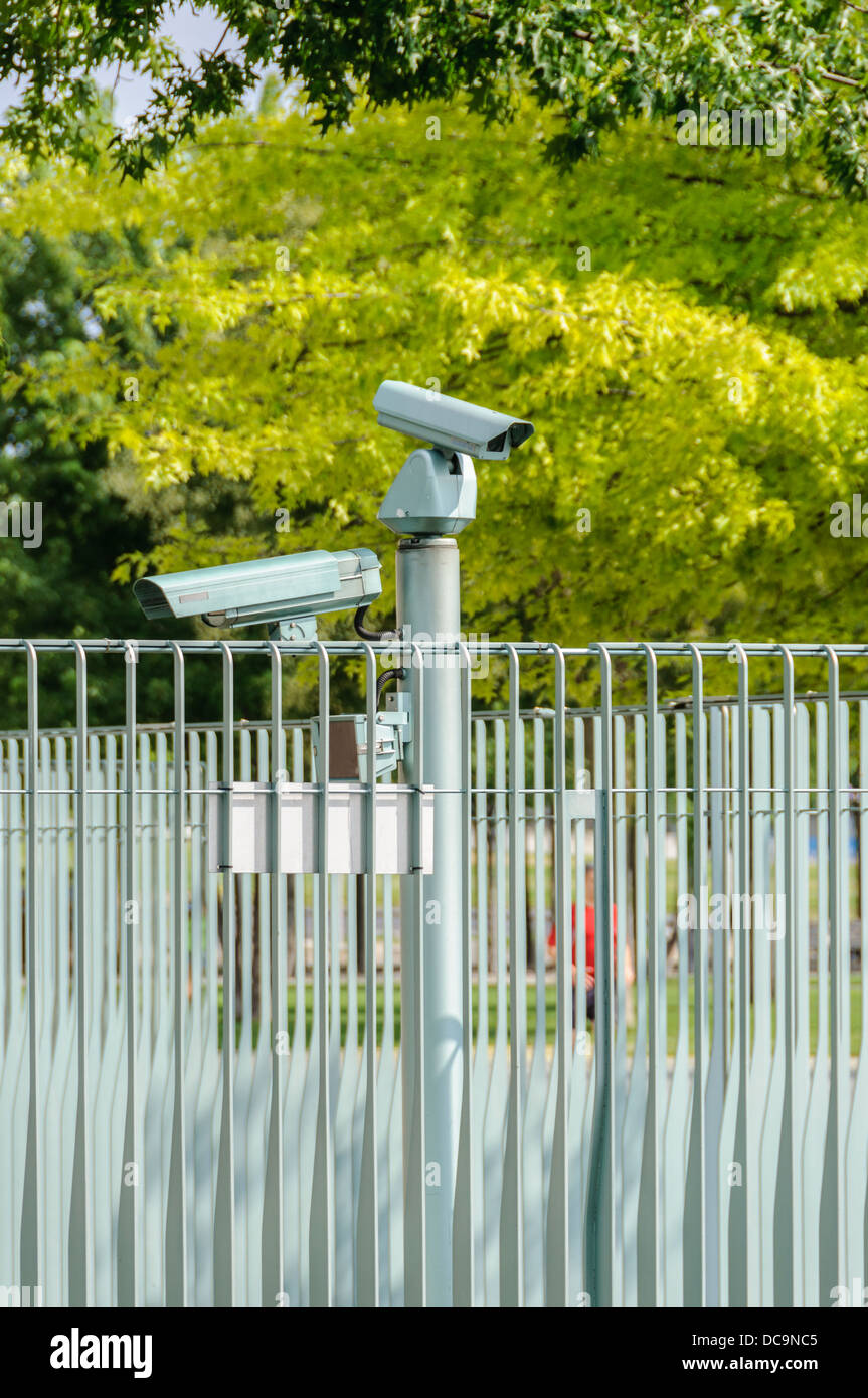 CCTV cameras and fence protecting the German Chancellery - Berlin Germany Stock Photo