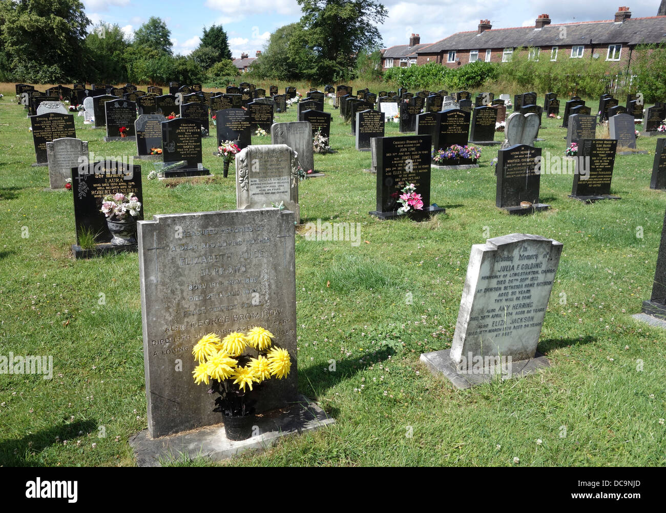 A traditional graveyard in a northern town in england, uk - Stock Image
