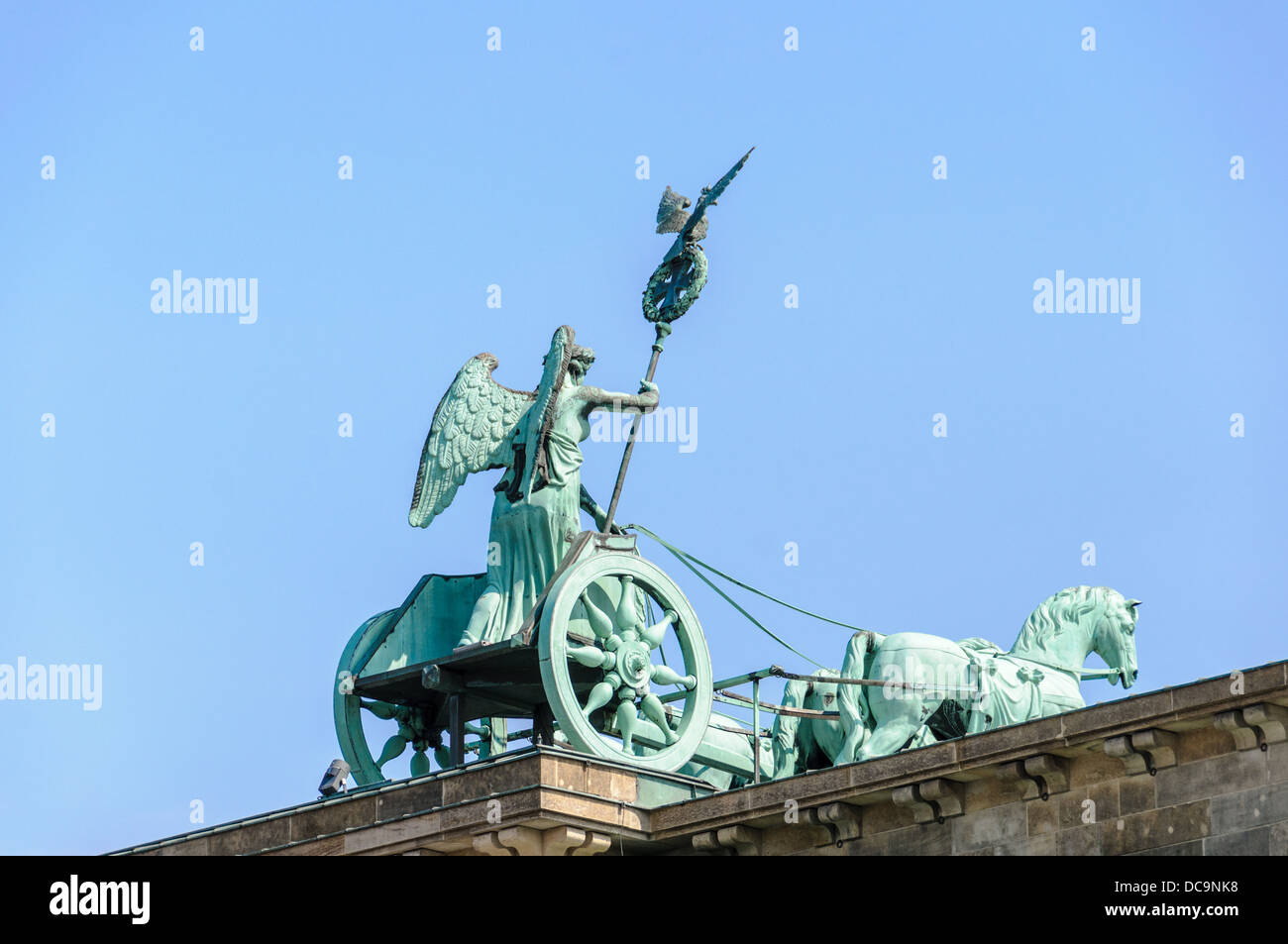 The Berlin Quadriga statue on top of of the Brandenburg Gate - Berlin Germany Stock Photo