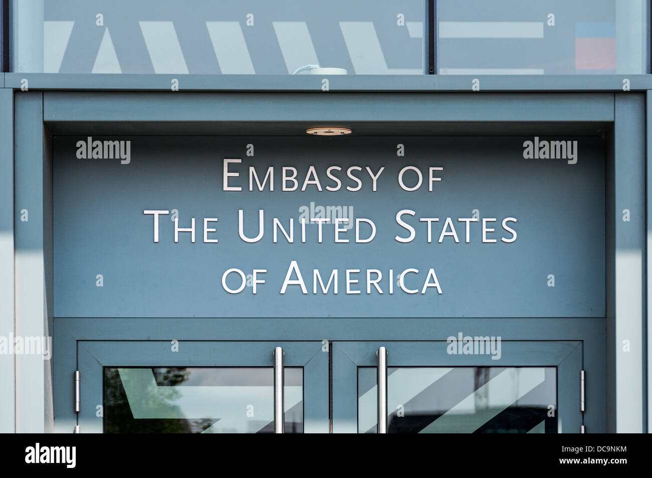 Entrance sign of the Embassy of the United States of America in Berlin, Germany - Stock Image