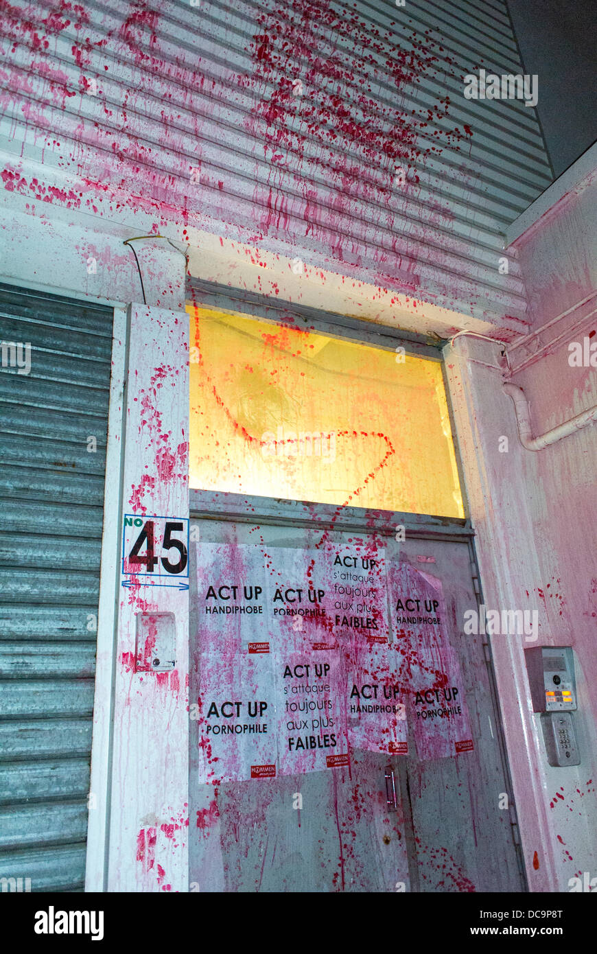 Paris, France, Homophobic Attack Against French AIDS N.G.O., Act Up Paris, Signs, Splashed Liquid. LGBT Violence - Stock Image