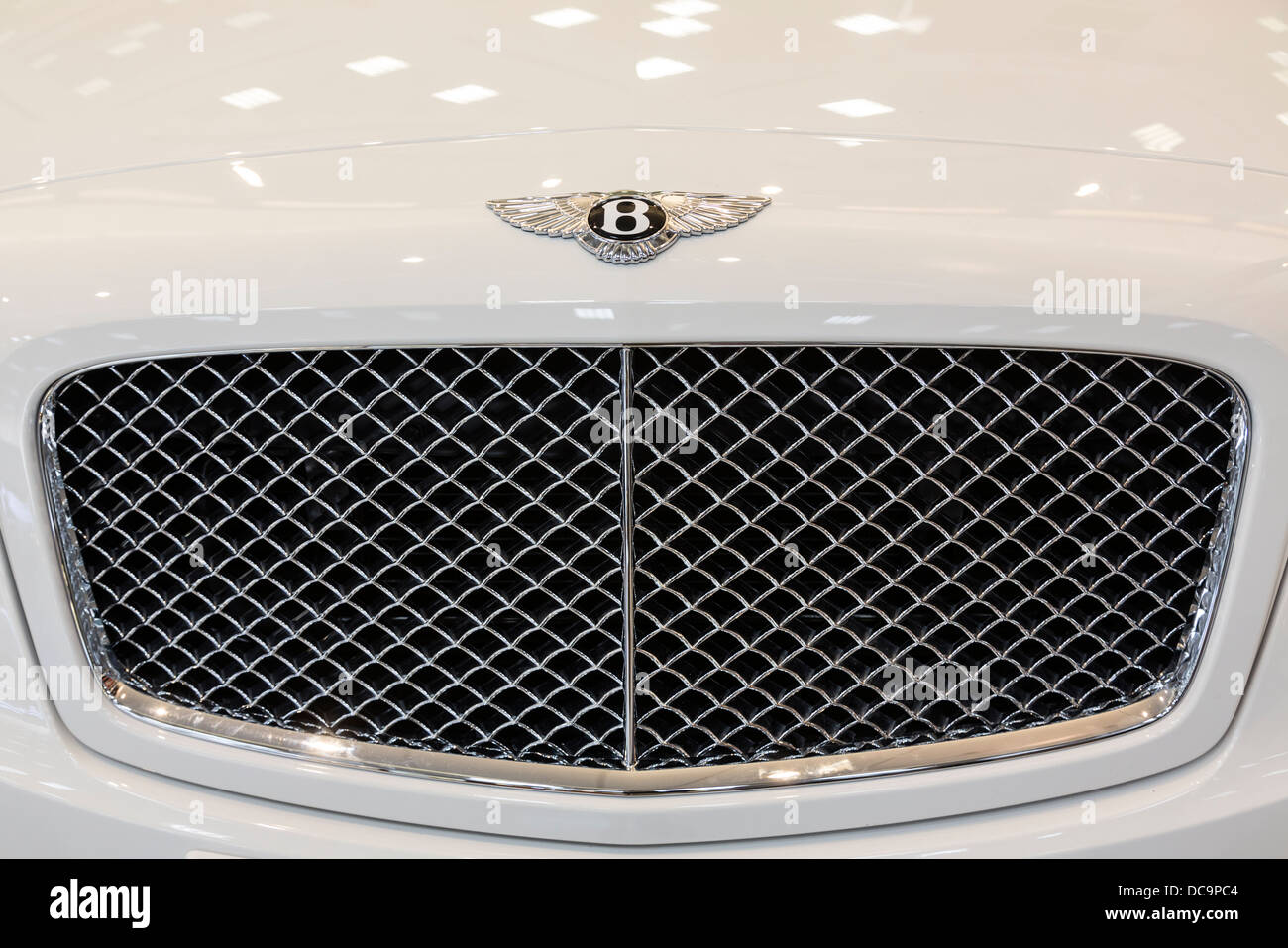 detail of Bentley Flying Spur car, Duty Free area, Doha, Qatar - Stock Image