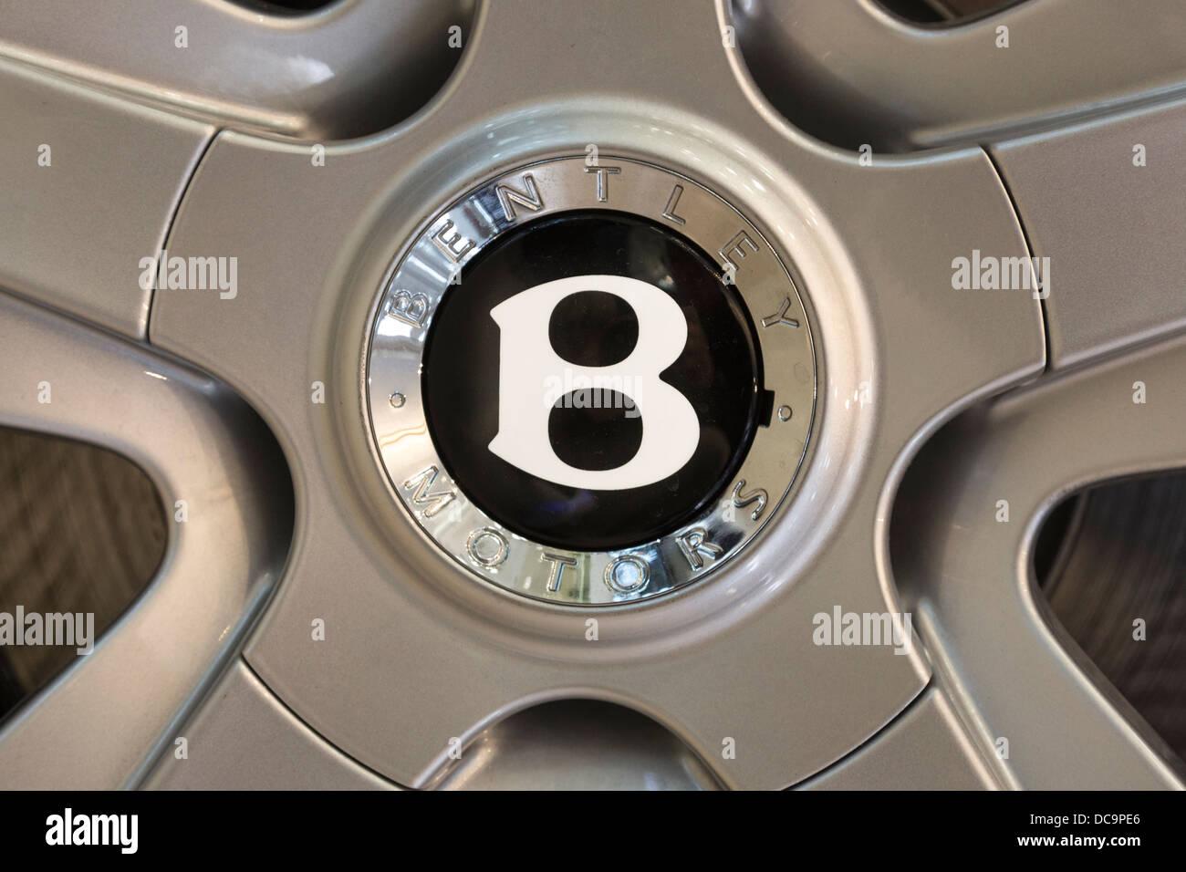detail of wheel of Bentley Flying Spur car, Duty Free area, Doha, Qatar - Stock Image