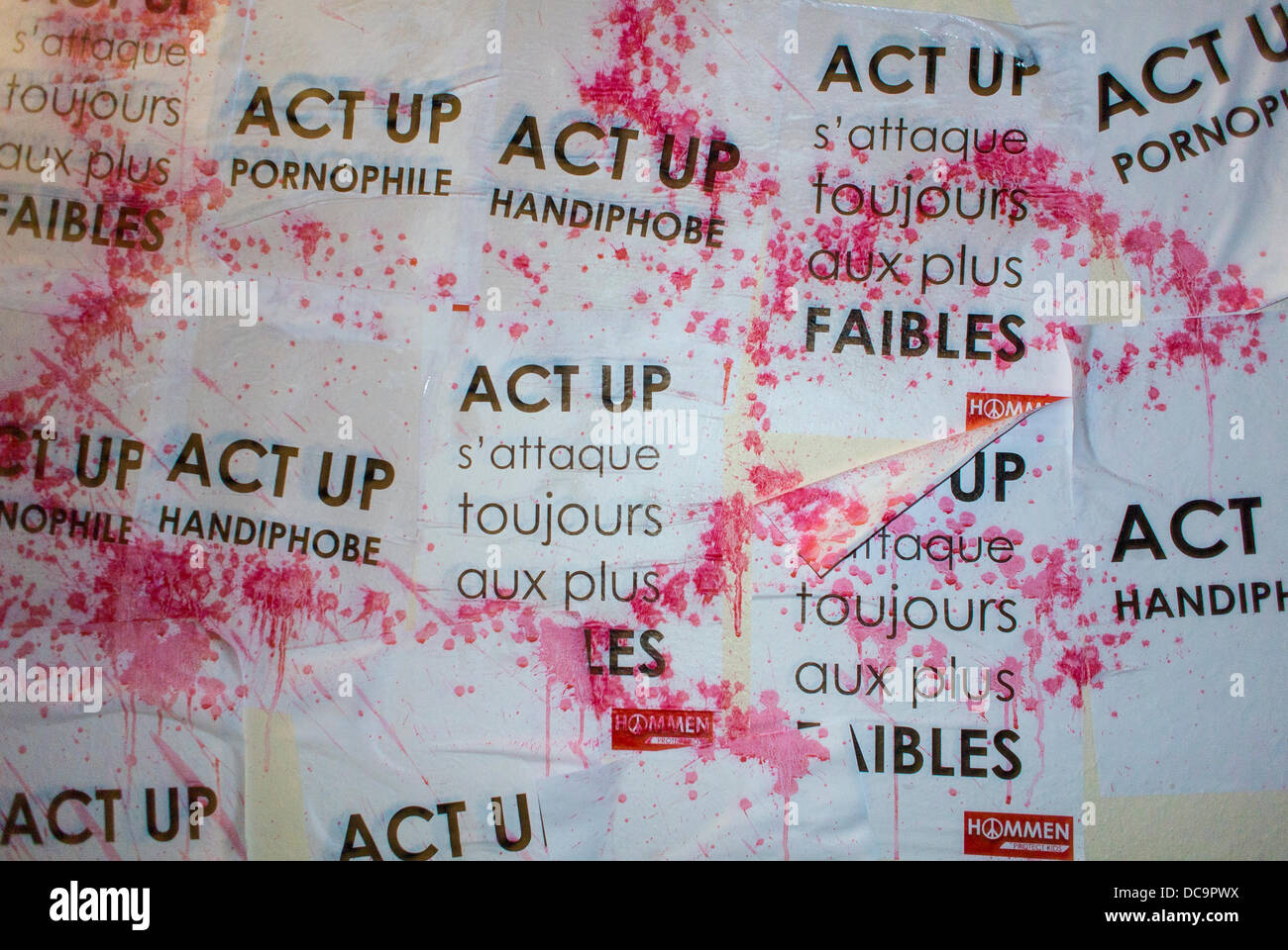 Paris, France, Homophobic Attack Against French AIDS N.G.O., 'Act Up Paris', Signs, Splashed Liquid.French - Stock Image
