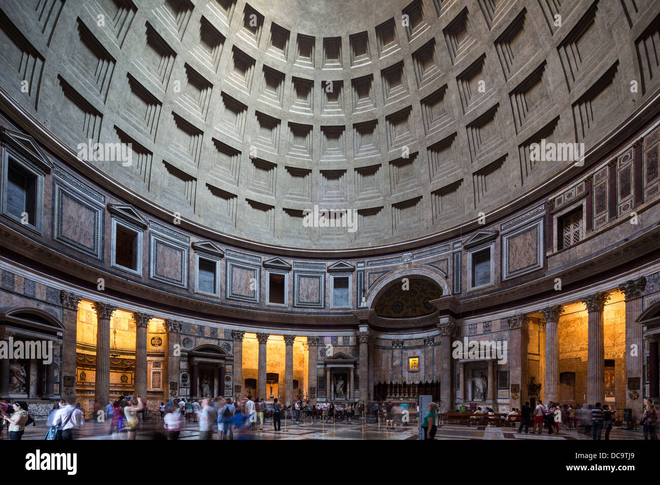 interior dome of Pantheon, Rome, Italy - Stock Image