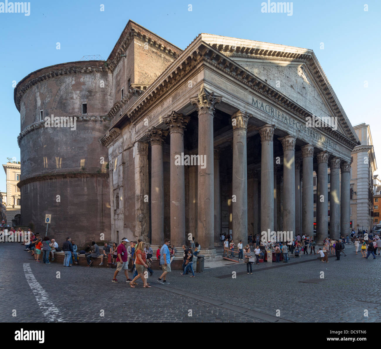 dome and pediment of Pantheon, Rome, Italy - Stock Image