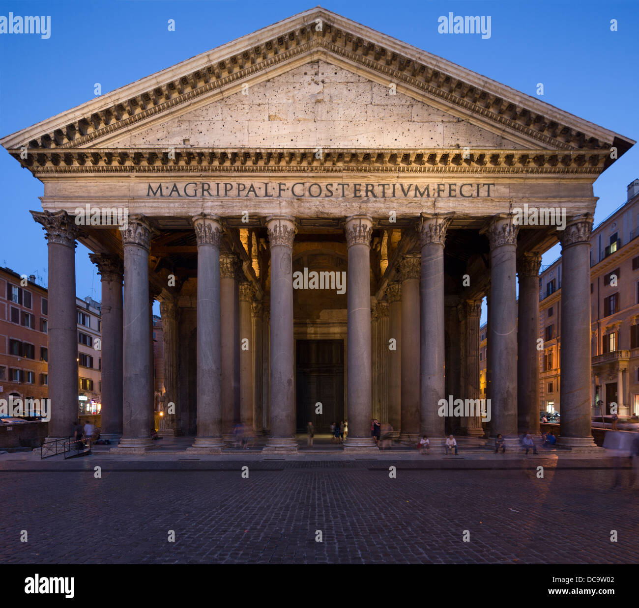 entrance columns and pediment of Pantheon, Rome, Italy Stock Photo