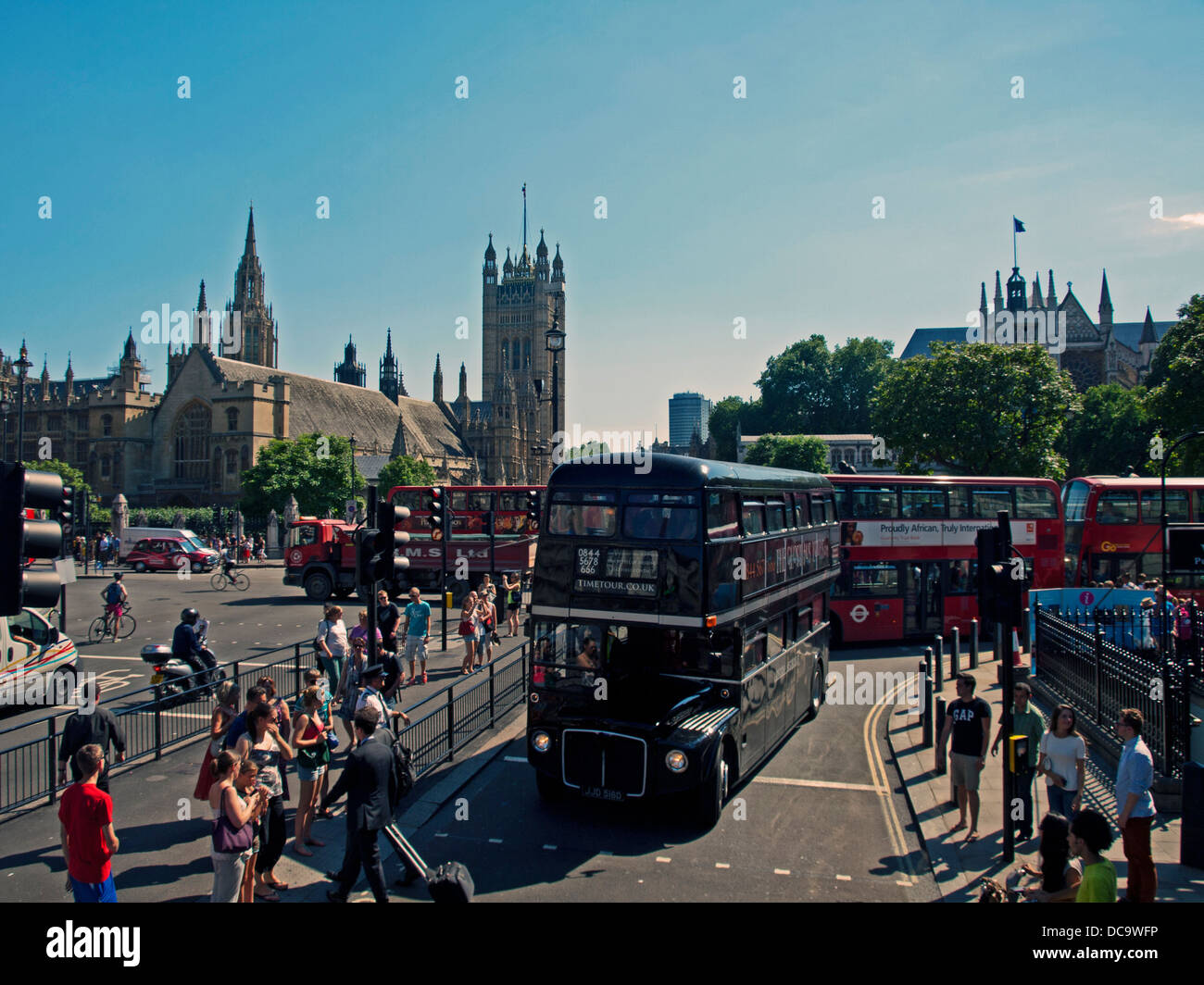 The Ghost Bus Tours Routemaster bus on Parliament Street near Whitehall, City of Westminster Stock Photo