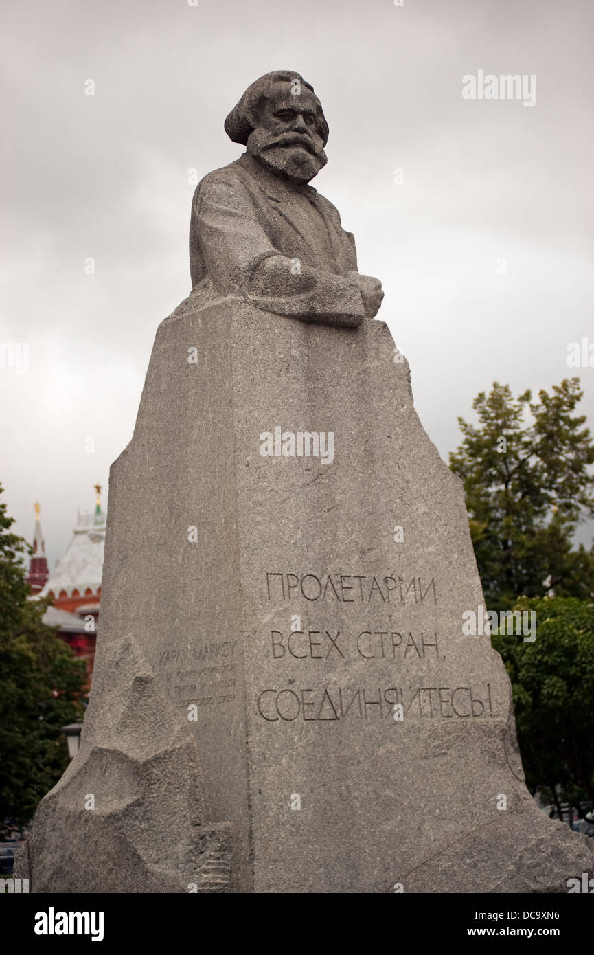 Karl Marx Monument in Teatralnaya Square Moscow Russia - Stock Image